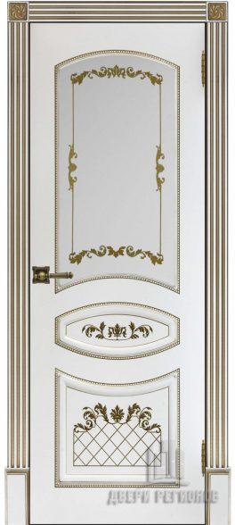 Алина, белая эмаль + золотая патина, стекло Алина
