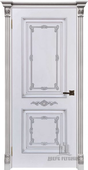 Багет 31, эмаль белая, портал с цветочком патина серебро, глухая