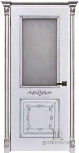 Багет 31, эмаль белая, портал с цветочком патина серебро, стекло Итало
