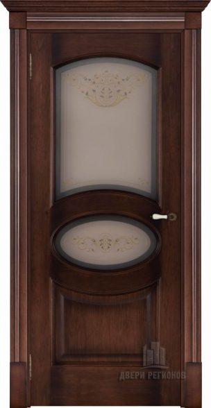 Флоренция Соло орех тон 7, стекло бронза Кристалайз N60, наличник Барокко, карниз, подпятник N1, розетка N2