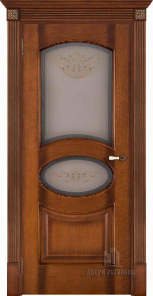 Флоренция Соло светлый мёд тон 5, стекло бронза Кристалайз N60, наличник плоский, карниз, подпятник N1, розетка N3
