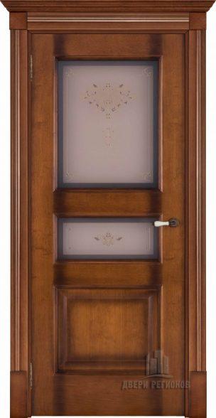 Флоренция Терзо cветлый мед тон 5, стекло бронза Кристалайз N66, наличник Барокко, карниз, подпятник N1, розетка N2