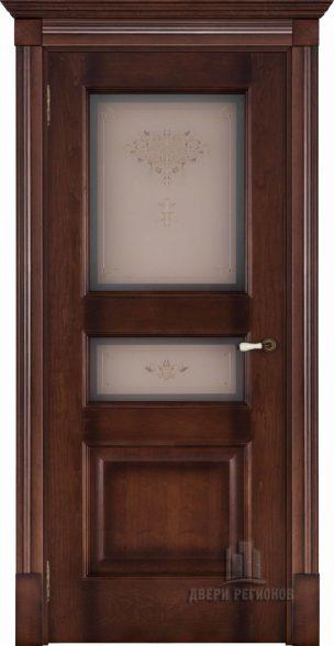 Флоренция Терзо орех тон 7, стекло бронза Кристалайз N66, наличник Барокко, карниз, подпятник N1, розетка N2